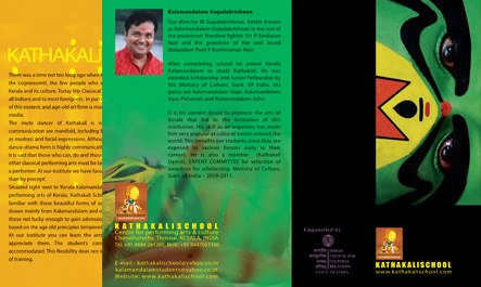 Brochure Design for Kathakali School